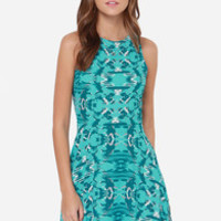 Abstract Attraction Blue Print Dress