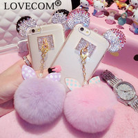 New Luxury Crystal Mickey Head Bowknot Fur Ball Soft TPU Phone Back Cover Phone Case For Iphone 5 5S 6 6S 6Plus 6S Plus YC1248