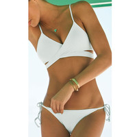 Summer Solid Padded Lace Up Cross Bathing Suit Beachwear Spaghetti Strap
