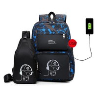 School Backpack Boys Two Sets Bagback USB Charge Anti Theft Backpack Travel School Bags Rucksack Sac A Dos Satchel Mochila Laptop Backpacks 2018 AT_48_3