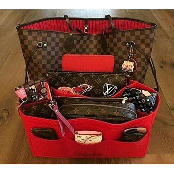 LV Louis Vuitton Flor Women Girl Monogram Canvas Neverfull Two piece