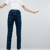 ASOS FARLEIGH High Waist Slim Mom Jeans In Check Print at asos.com