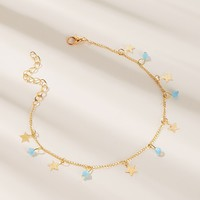 Bead & Star Charm Chain Anklet 1pc