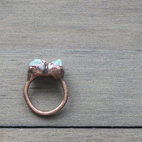 Raw Aquamarine Crystal Ring Size 8.5 Rough Rough Birthstone Ring Cocktail Ring Gemstone Ring March Stone Mineral Pale Blue For Her Handmade