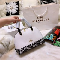 Coach Women Leather Shoulder Bag Shopping Satchel Tote Bag Handbag