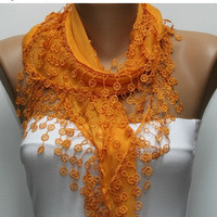 ON SALE -Orange Scarf  - Cotton  Scarf -  Cowl with Lace Edge   -fatwoman - Bridesmaids Gifts