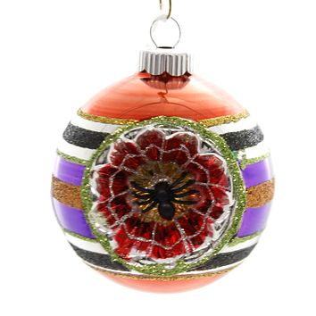Shiny Brite HALLOWEEN DEC ROUNDS REFLECTOR. Spiders Spooky Ornament 4027670 Orange