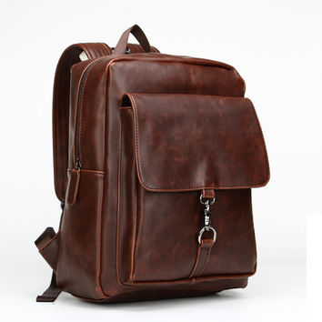 retro  leather laptop backpack bookbag