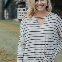 Striped Twist Knot Top, Oatmeal/Black