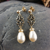 Gold-Filled Post Swarovski Pearl Earrings with Antique Brass Connector