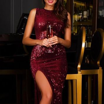 Bling Bling Red Curvy Dress with Side Split