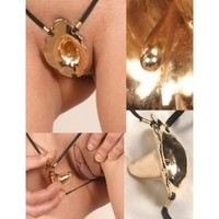 Gold Flower Penetrating G-String Jewelry
