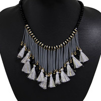 Black Crystal Tassel Multi Layer Beaded Detail Necklace