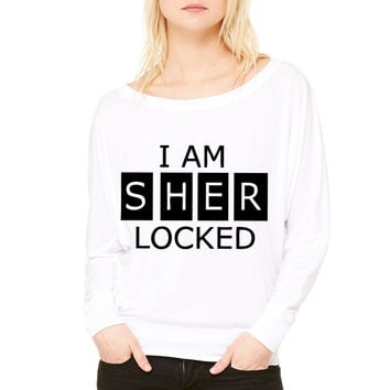 I Am SherLocked WOMEN'S FLOWY LONG SLEEVE OFF SHOULDER TEE