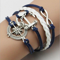 Infinity Love Anchor Leather Cute Charm Bracelet plated Silver Jewelry