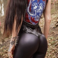 Black Patchwork PU Leather Latex High Waisted Vinly Casual Long Pants
