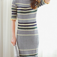 Green Color Block Half Sleeve Knitted Bodycon Dress