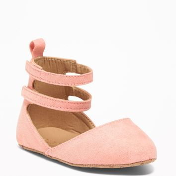 Sueded Pointy-Toe Ballet Flats for Baby|old-navy