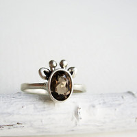 Brown Giraffe Ring, Smoky Quartz and Sterling Silver Ring