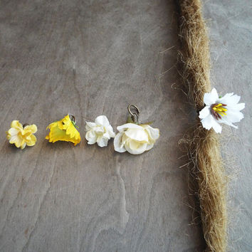 Shades of White & Yellow Flower Dangle Charm Bead Antiques Brass  Dreadlock Accessory Extension Accessories Dread Boho Bohemian Hippie