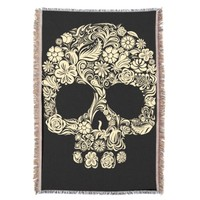 Day of the Dead Floral Sugar Skull Throw Blanket
