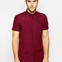 ASOS Smart Shirt In Short Sleeve With Plaid Check - Red
