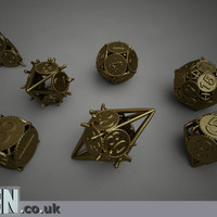 Swords and Shields D&D Dice set with Decader by Ben3D on Shapeways
