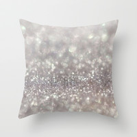 Silver Sparkle Throw Pillow by PinkBerryPatterns