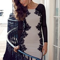 Lipsy Long Sleeve Lace Silhouette Bodycon Dress