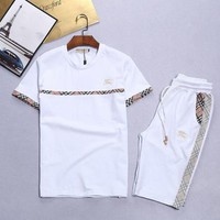 ONETOW Day-First? Boys & Men Burberry Shirt Top Tee Shorts Set Two-Piece