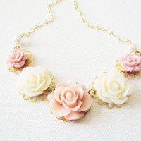 Shabby Chic Jewelry Necklace Romantic Vintage Style Jewlery Rose Flower Necklace Bib Necklace Bridesmaids Maid of Honor Jewelry