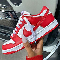 NIKE air jordan 1 low aj1 White and red low top casual shoes-3