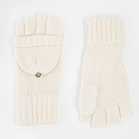 River Island Hoody Knitted Mittens at asos.com