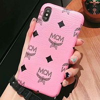 MCM Fashion New Letter Pattern Print More Color Women Men Protective Cover Phone Case Pink