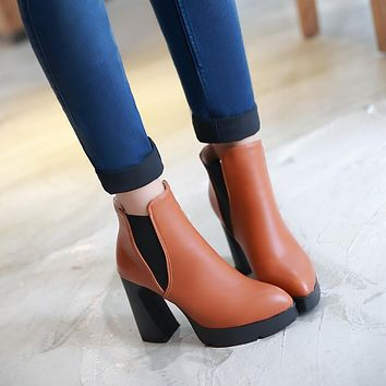 Pointed Toe Ankle Boots High Heels Women Shoes Fall Winter 6297