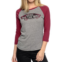 Vans Off The Wall Tie Dye Fill Grey & Burgundy Baseball T-Shirt