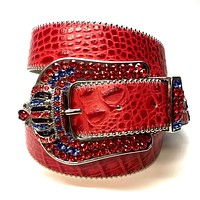 "B.B Simon ""Red Blue Crown"" Fully Loaded Crystal Belt"