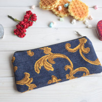 Blue pencil case, Pencil Pouch, Cosmetic pouch, Make Up Pouch, Charger bag, Project bag, Travel bag, Bridesmaid gift, Bridal purse