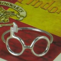 Silver Glasses Ring w Scar Harry Potter Sterling Silver 925 Lightning Bolt Geeky MADE IN USA
