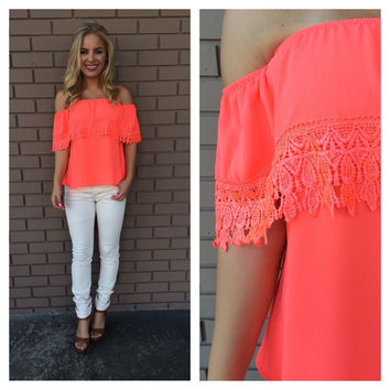 Neon Coral Eyelet Off Shoulder Top