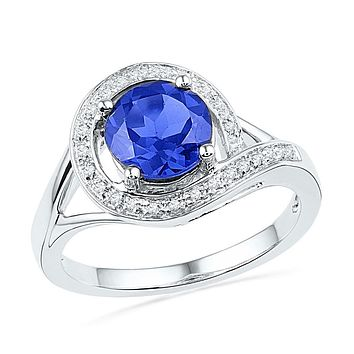 10k White Gold Round Created Blue Sapphire Solitaire Diamond Ring 1-7/8 Cttw