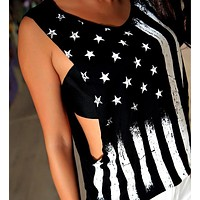 Sexy American Flag Patterned Sleeveless Shirt Top Tee