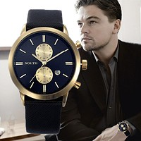2017 Mens Watches Top Luxury Brand NORTH Quartz Watch Casual Leather Sports Wristwatch Montre Homme Male Clock Relogio Masculino