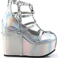 Holographic Silver Cage Bootie Rave Shoes with Heart-Locket Detail