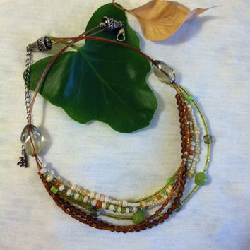 Brown and Green Multi Strand Beaded Necklace with Dragonfly Charm Vintage Woodland Glass Seed Beaded Jewelry Copper Silver Green and Brown