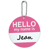 Jean Hello My Name Is Round ID Card Luggage Tag