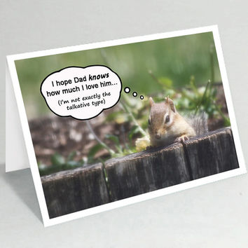 Funny Father's Day card - Chipmunk Fathers Day card - Dad birthday card - Cute animal fathers day greeting card