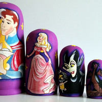 Sleeping Beauty traditional russian nesting doll toy made curved painted hand collectible souvenir wood linden holiday birthday gift decorat