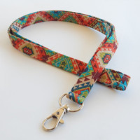 Tribal Print Lanyard / Aztec Indian Inspired / Boho Keychain / Bohemian / Key Lanyard / ID Badge Holder / Fabric Lanyard / Colorful Tribal