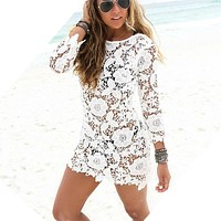 2017 Beach Cover Up White Floral Sexy Beach Tunic Women Bikini Cover-ups Beachwear Female Swimsuit Cover Up Loose Dress Swimwear